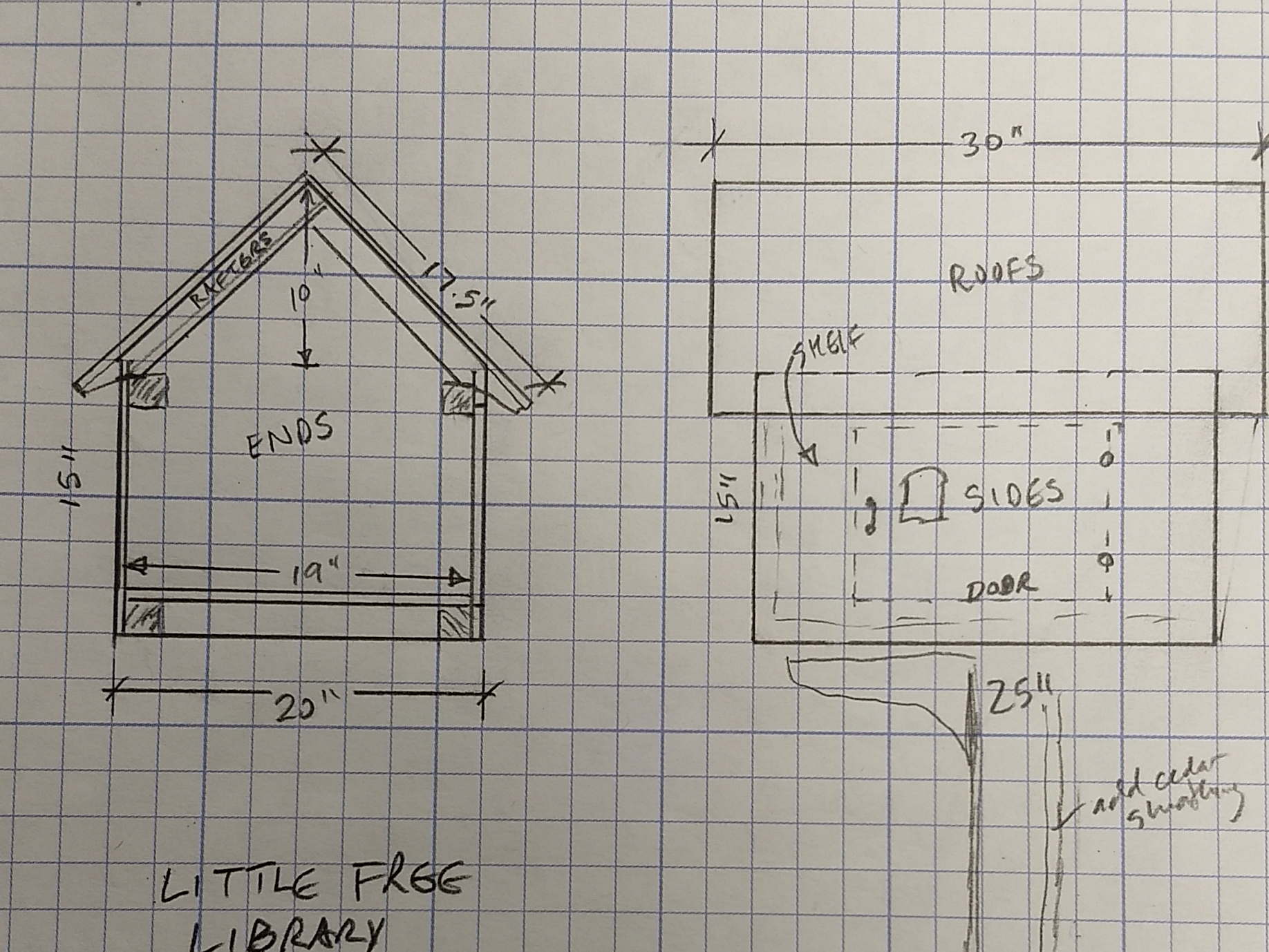 Preliminary conceptual layout for end view and front elevation.