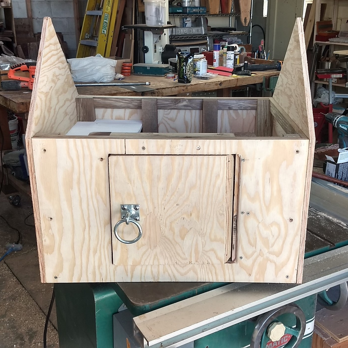 Front side with door and handle ring in place.