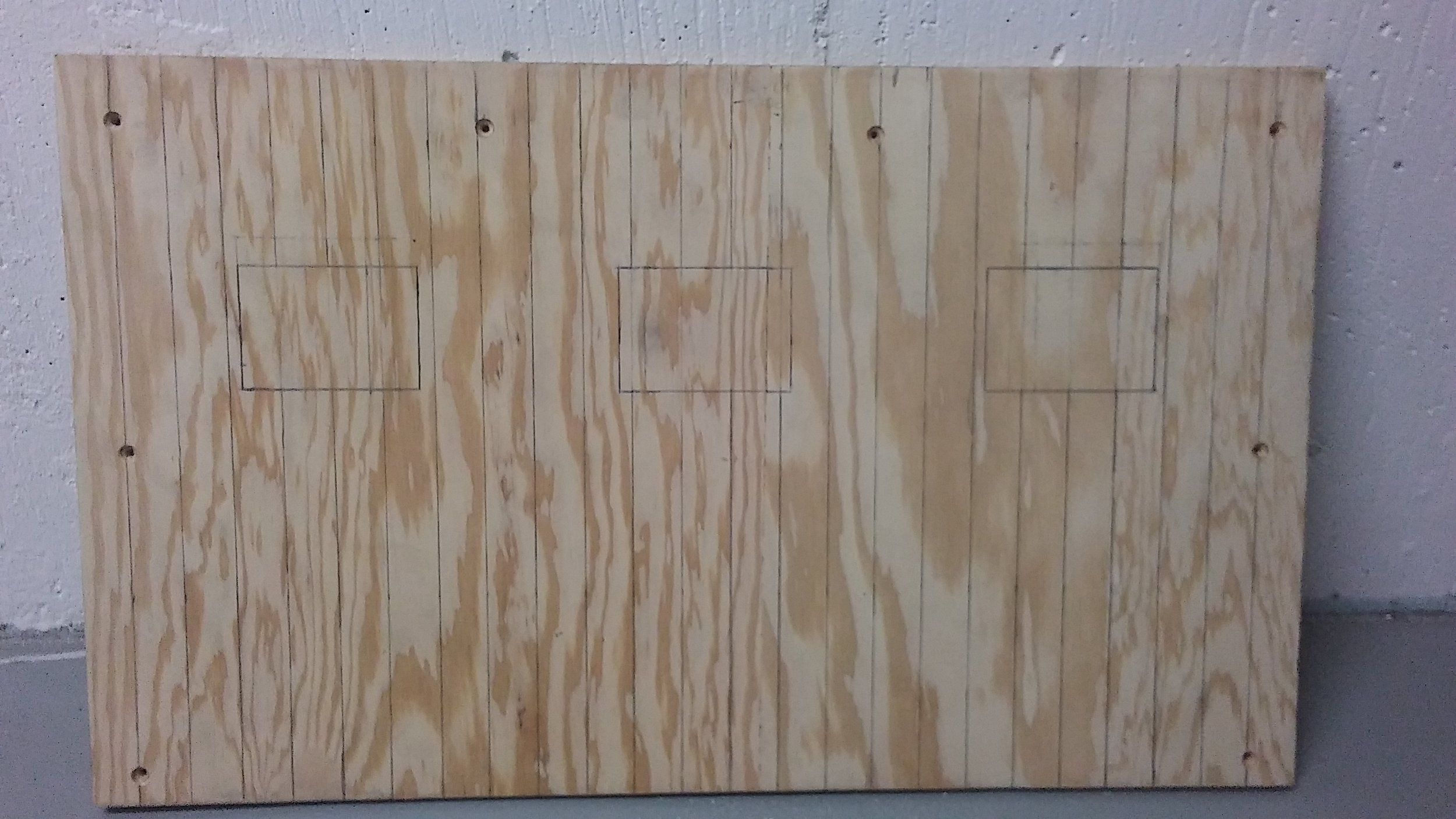 """Sketched outline of the board pattern for the back of the box. Boards are drawn on as an inch wide with three 2.5"""" x 3.5"""" windows."""