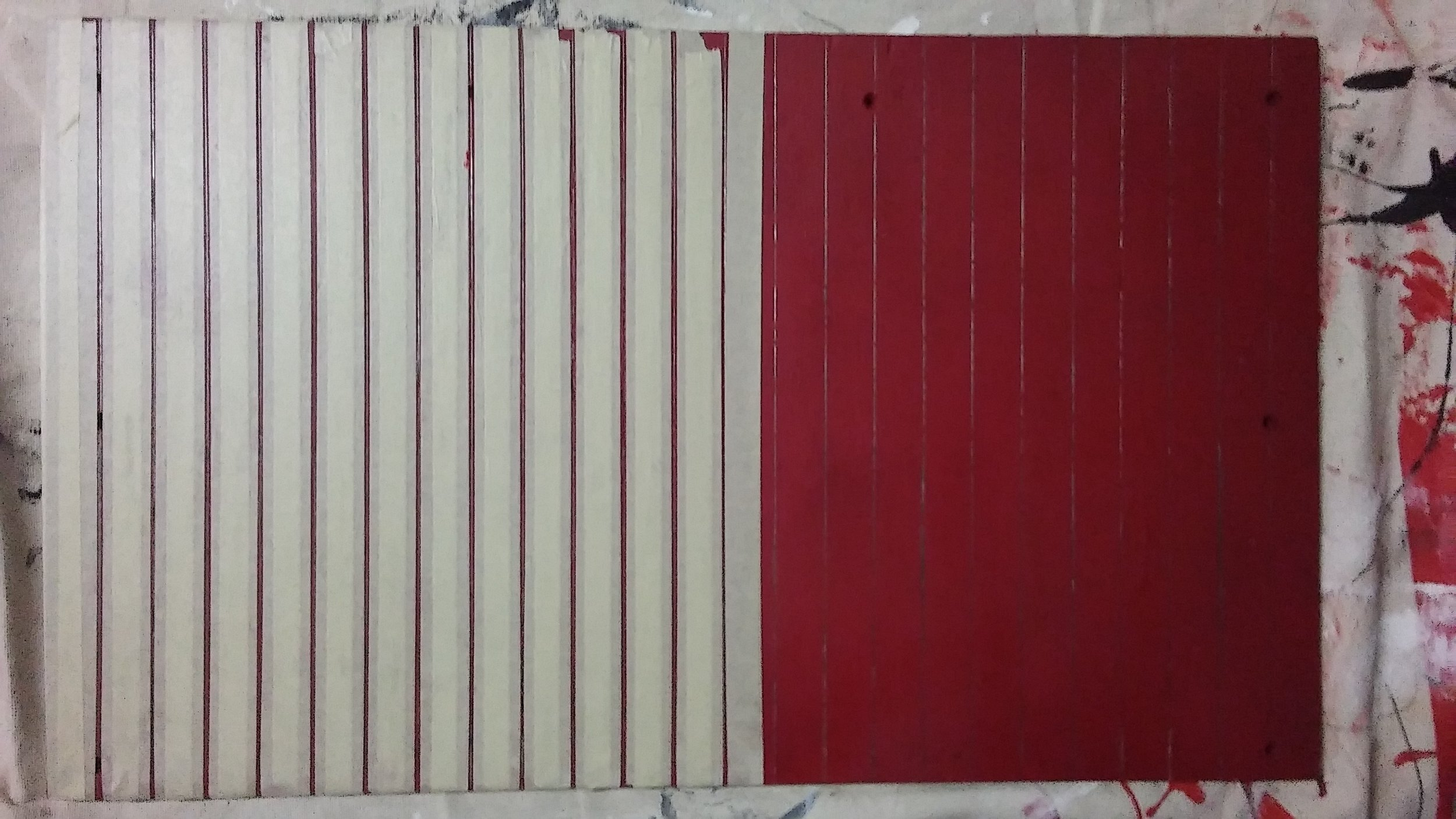 First coat of red paint is on and tape is being applied to create the stencil for the edges of the boards which will be painted with a darker red.