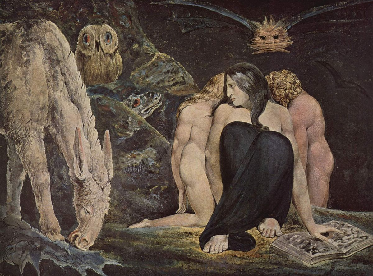 Hecate, or The Night of Enitharmon's Joy, by William Blake. 1795.