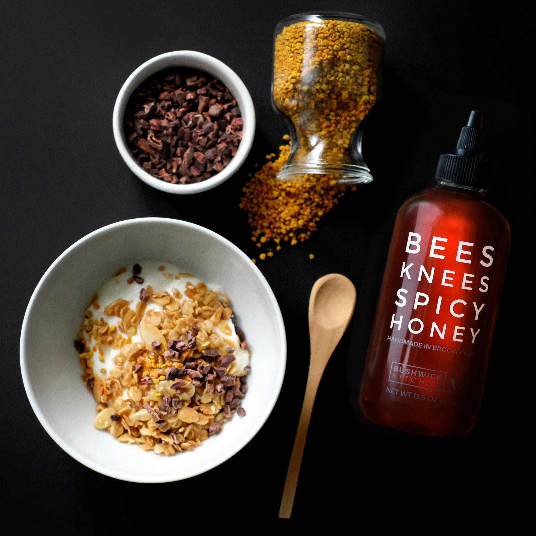 Bees Knees Spicy Honey. That perfect mixture of spicy and sweet. Goes great with everything from Pizza - Yogurt.