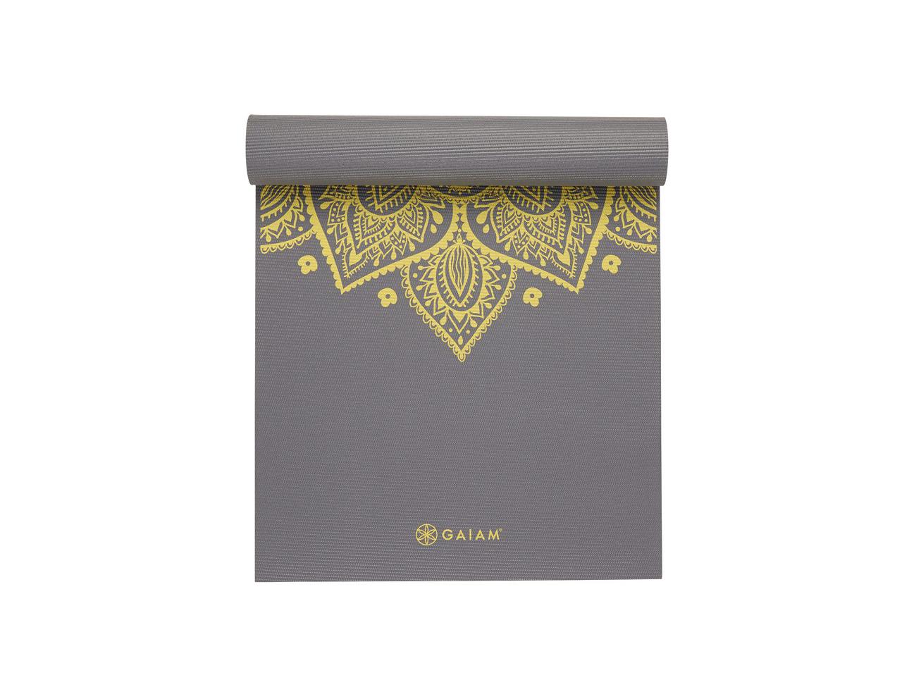 Gaiam citron sundial yoga matt. A latex free, light tack non-slip grip yoga Matt that comes with 5mm of premium durable/lightweight cushioning. Lifetime guarantee.