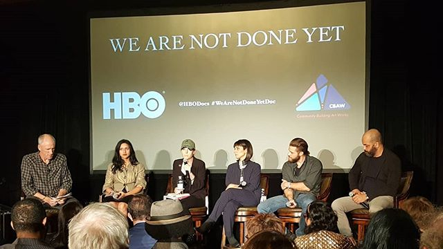 "Amazing HBO Documentary premier at The Willard Hotel last night. Veterans healing from PTSD through the creative processes of writing and performing collaborative poetry. Very moving. On HBO November 8.  Thank you to April Harris for her service, her role in the documentary and her invitations. ""We are Not Done Yet"""