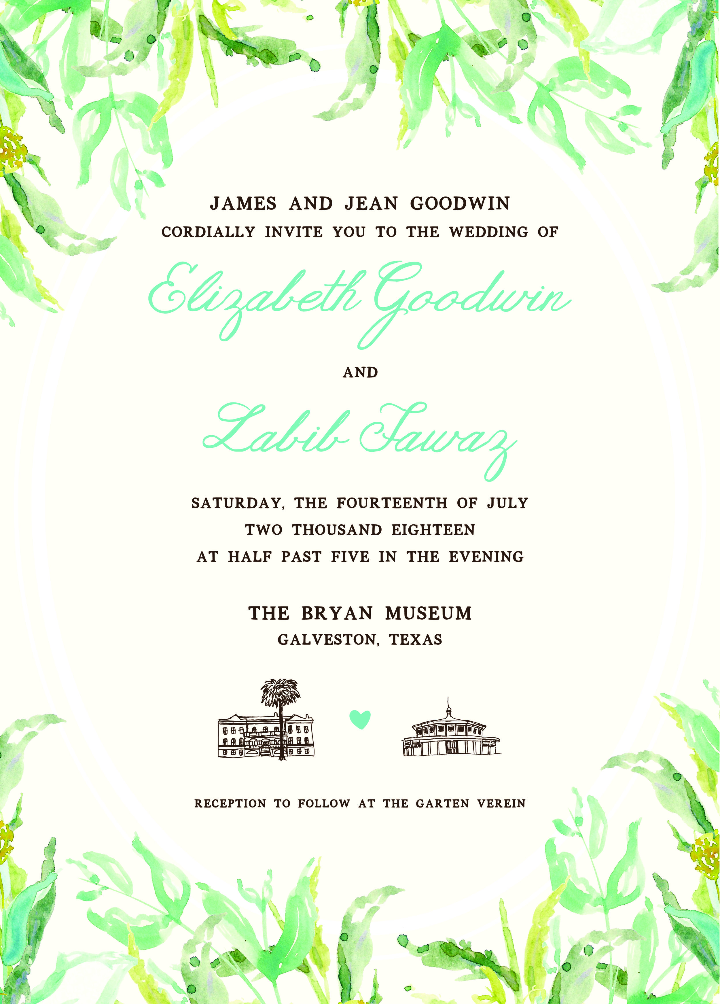 Wedding Invitation Design: Liz & Labib