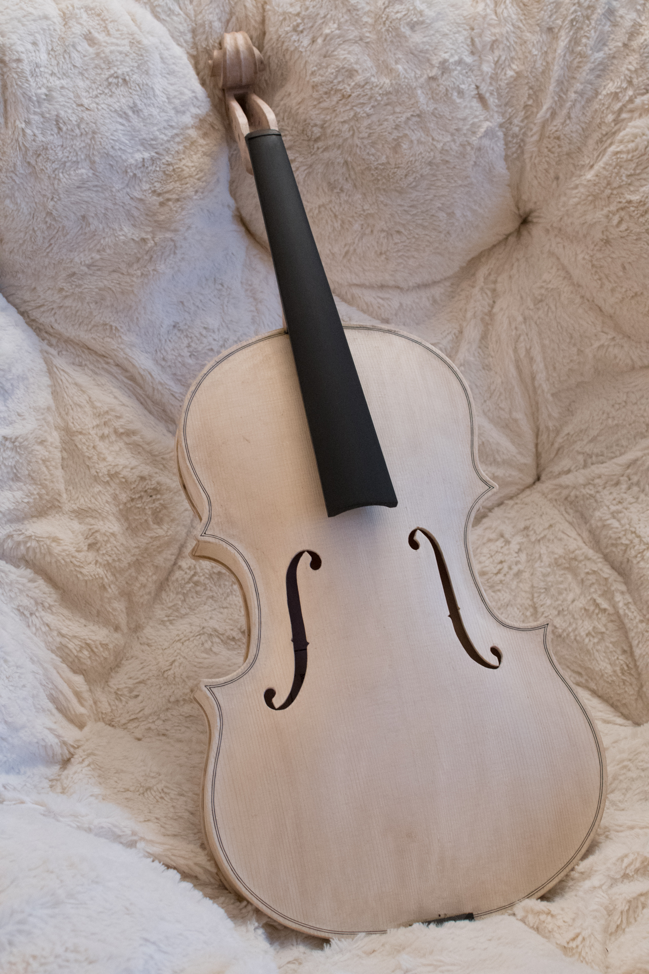 The viola I made for Gillian just before applying the varnish.