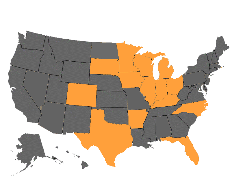 States in orange represent where GROTH Design Group is licensed and/or has built projects.