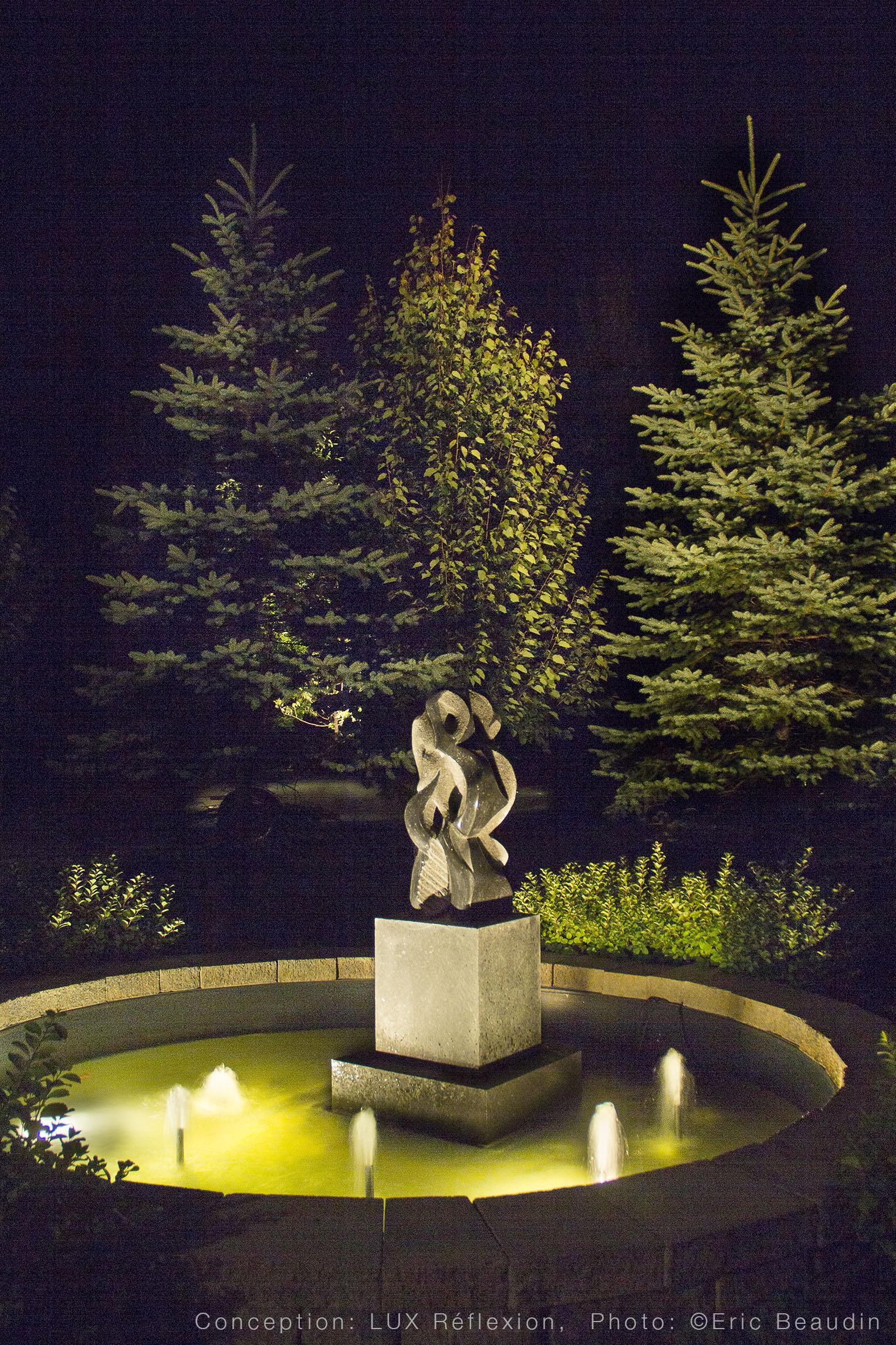 Éclairage d'oeuvres d'art, sculpture et fontaine