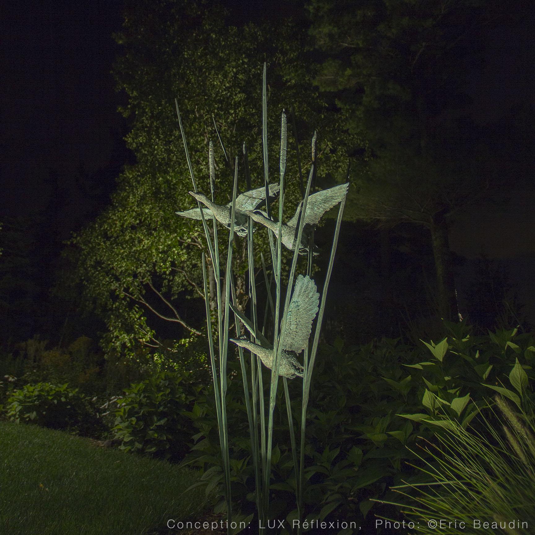Éclairage d'oeuvres d'art, jardin
