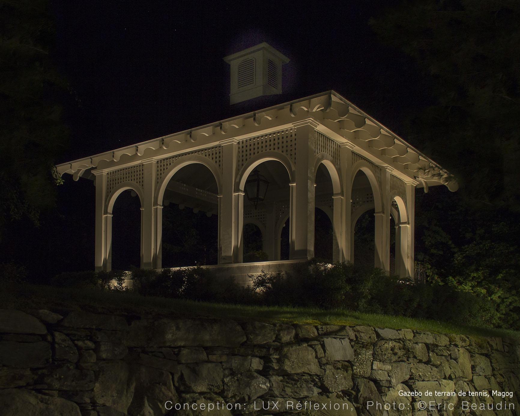 Éclairage architectural, pavillon de jardin