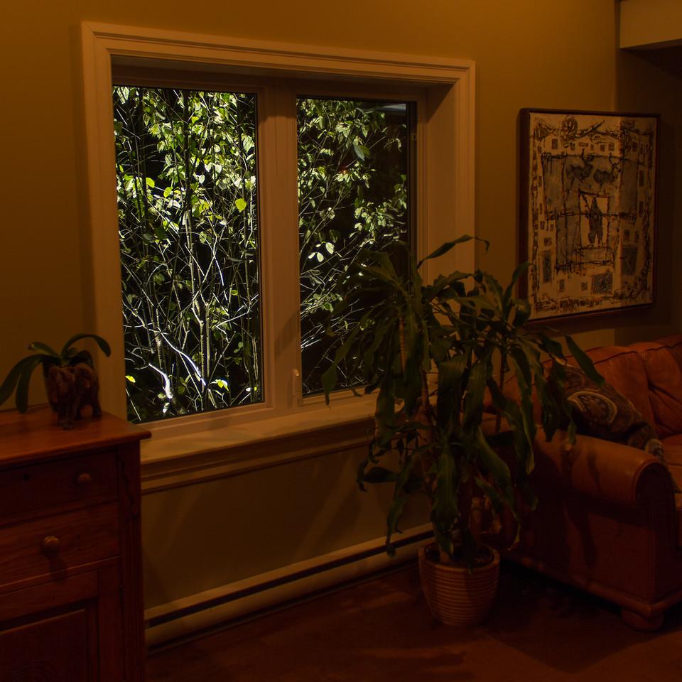 Éclairage paysager, vue intérieure