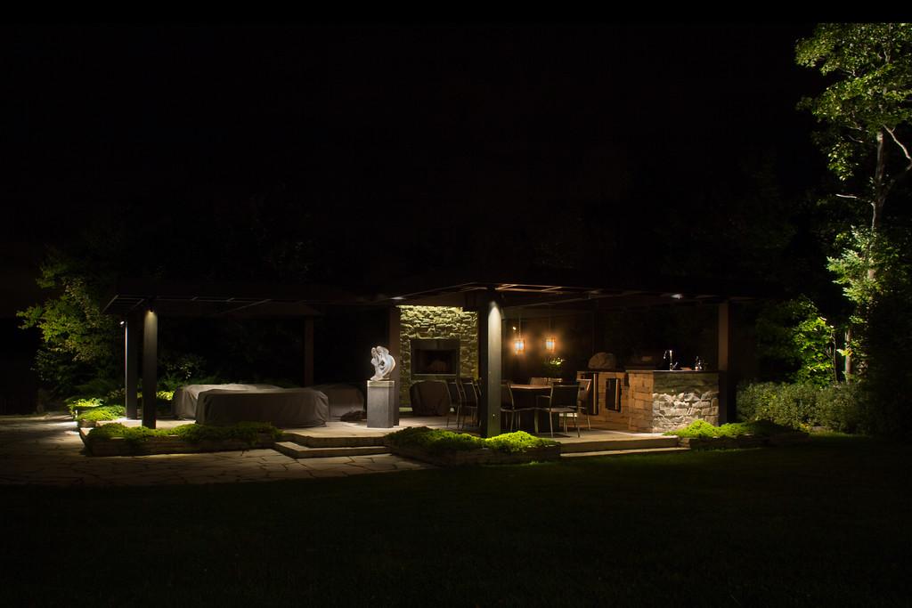 Éclairage paysager, cuisine extérieure