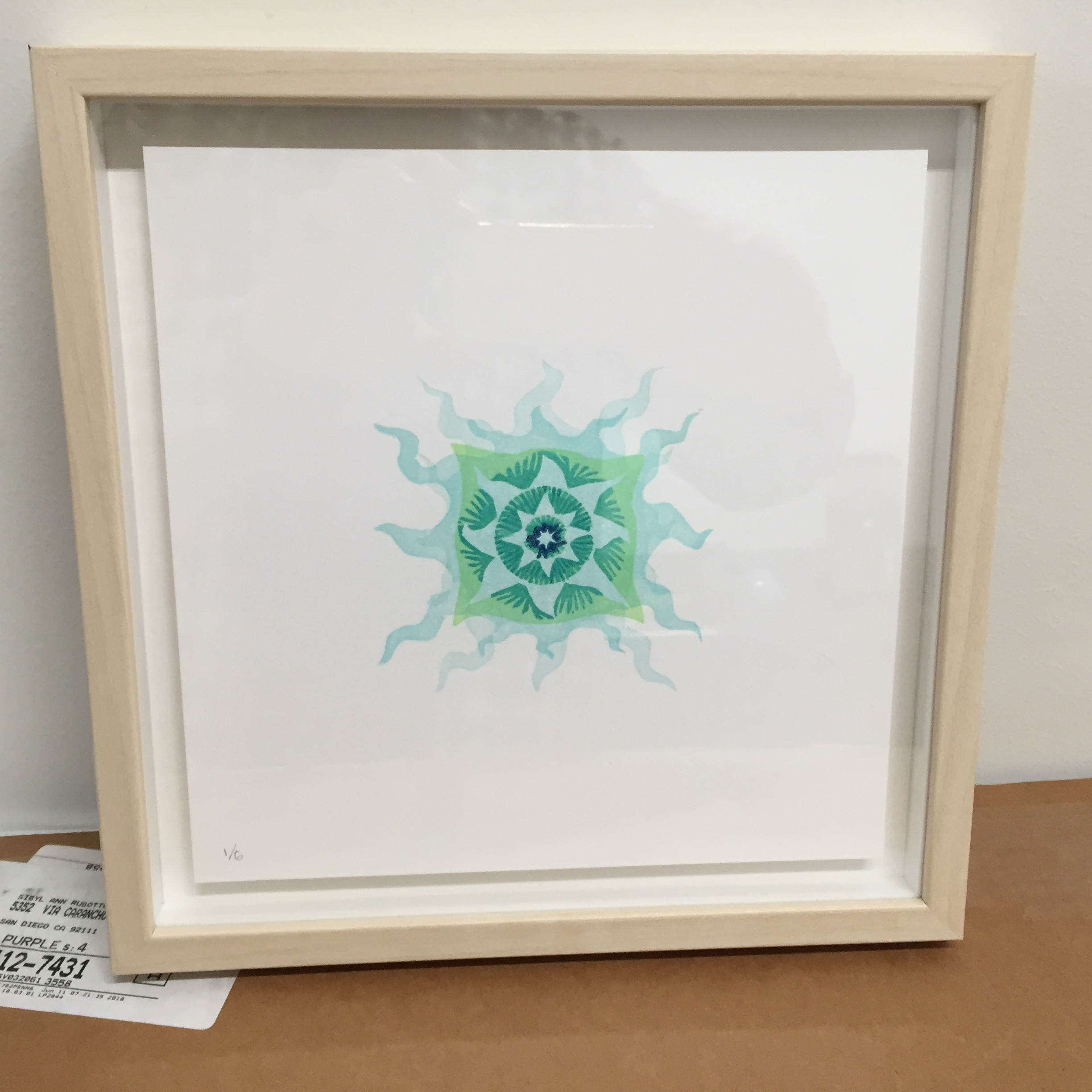 """Little Mandala #2 - 2019Edition of 64""""x4"""" Reduction linoleum block print with multiple blocks. Also available unframed.( 6 prints available for sale )$50"""