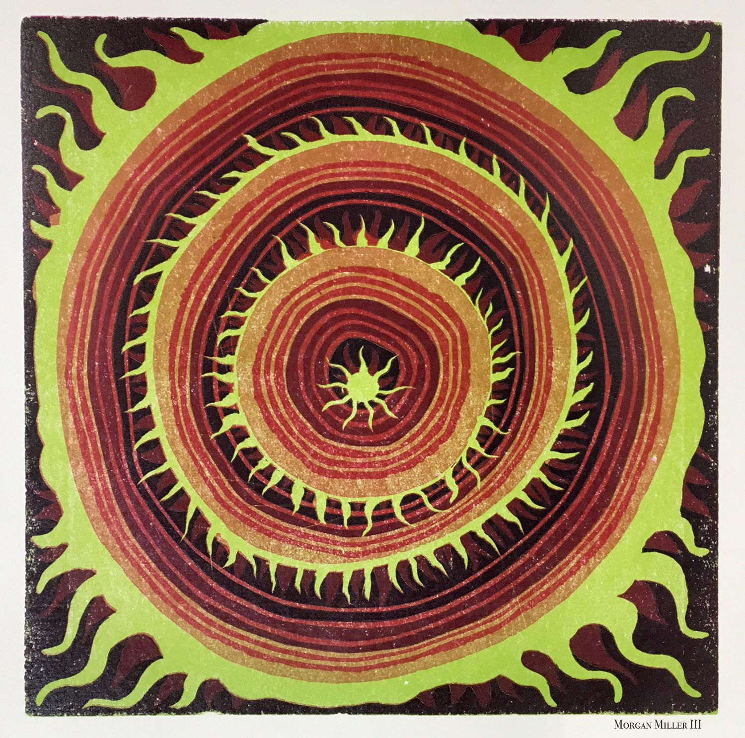 """Mandala Linocut #4 - 2018Edition of 79""""x 9"""" Reduction linoleum block print. Also available unframed.( 5 prints available for sale )$100"""