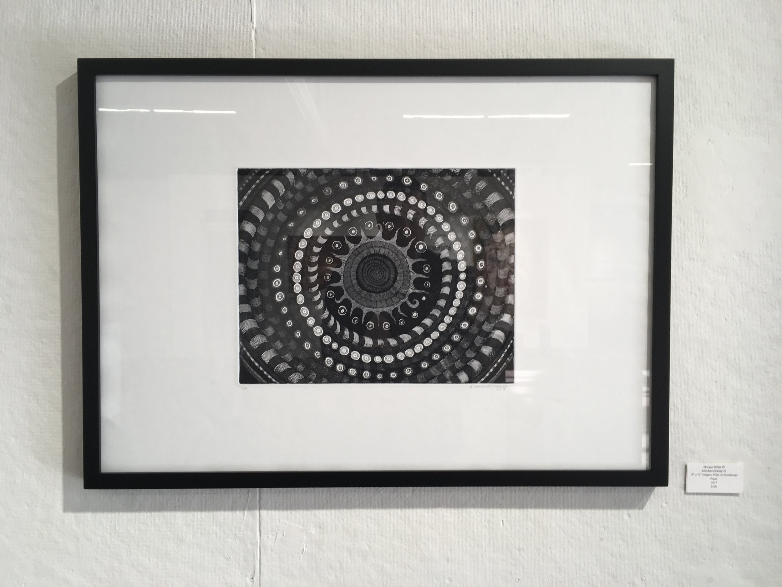 """Mandala Etching #1 - 2017Edition of 69""""x12"""" Intaglio.This print was featured in the """"Fiesta of Printmaking"""" exhibition at the Athenaeum Art Center in Logan Heights, CA.Also available unframed.( 1 print available for sale )$ 300"""