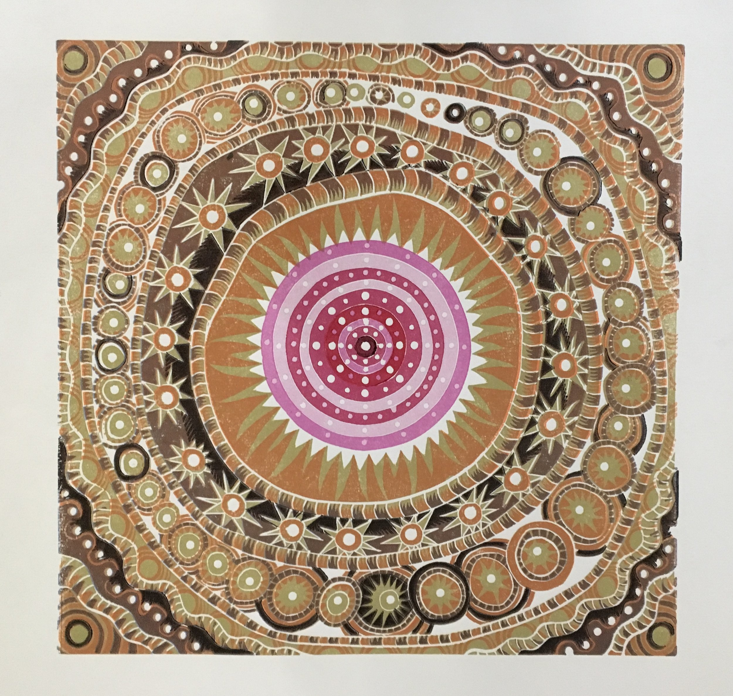 Mandala Linocut #2 - 2018Edition of 15Reduction linoleum block print with multiple blocks. Also available unframed.( 10 prints available for sale )$ 300
