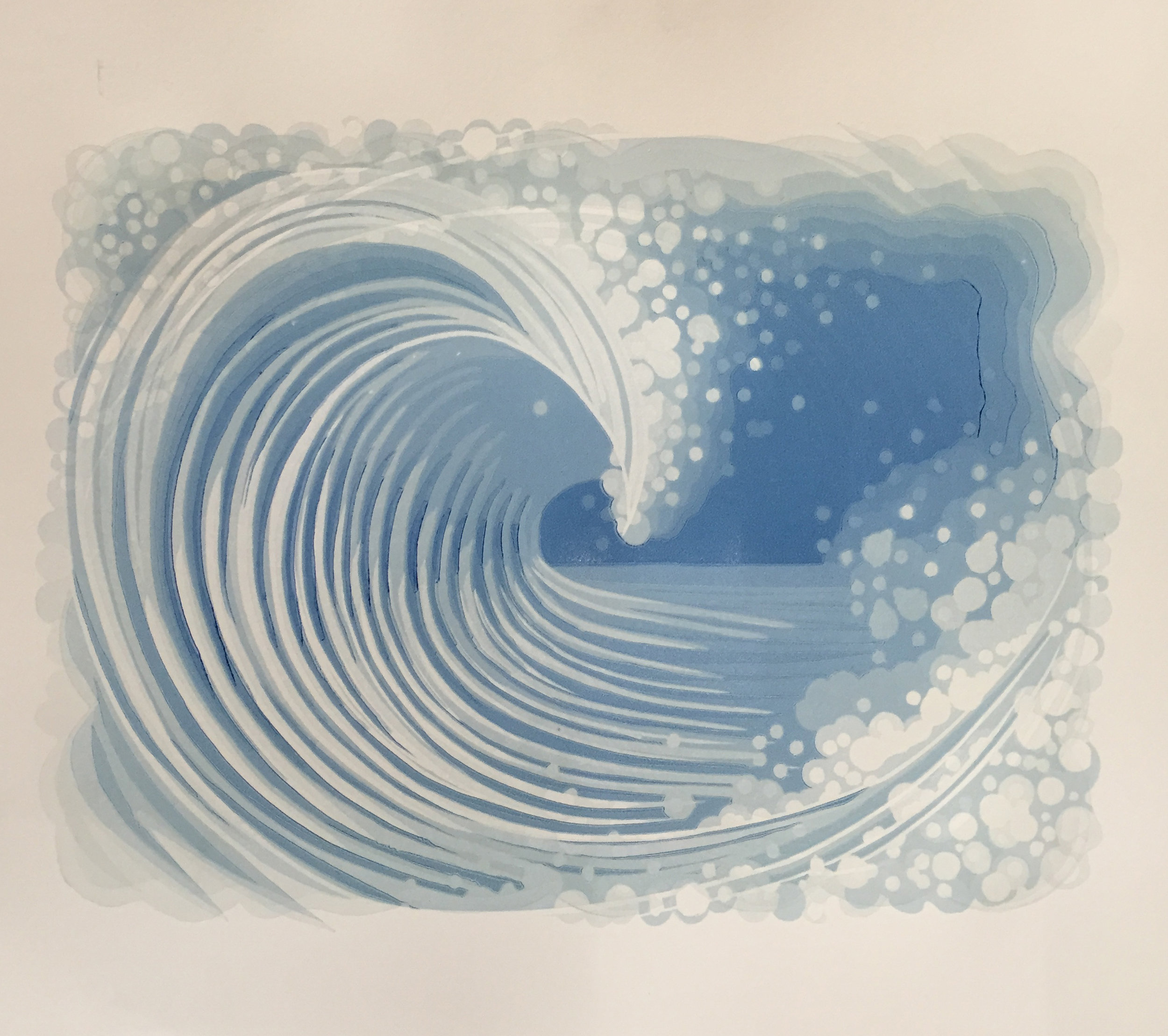 """Wave Linocut - 2018Edition of 109""""x12"""" Reduction linoleum block print with multiple blocks. Also available unframed.( 5 prints available for sale )$ 200"""
