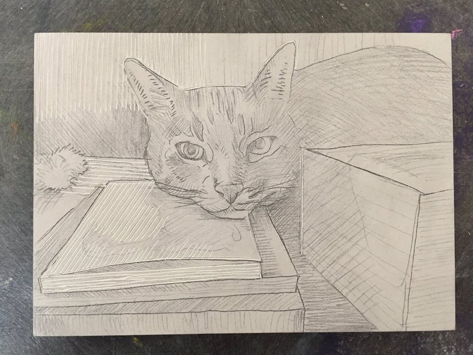 Here's the pencil drawing on the linoleum block of Sliver with a small amount of carving. Note that the drawing on the block is flipped horizontally from the print because when you print it gets reversed.