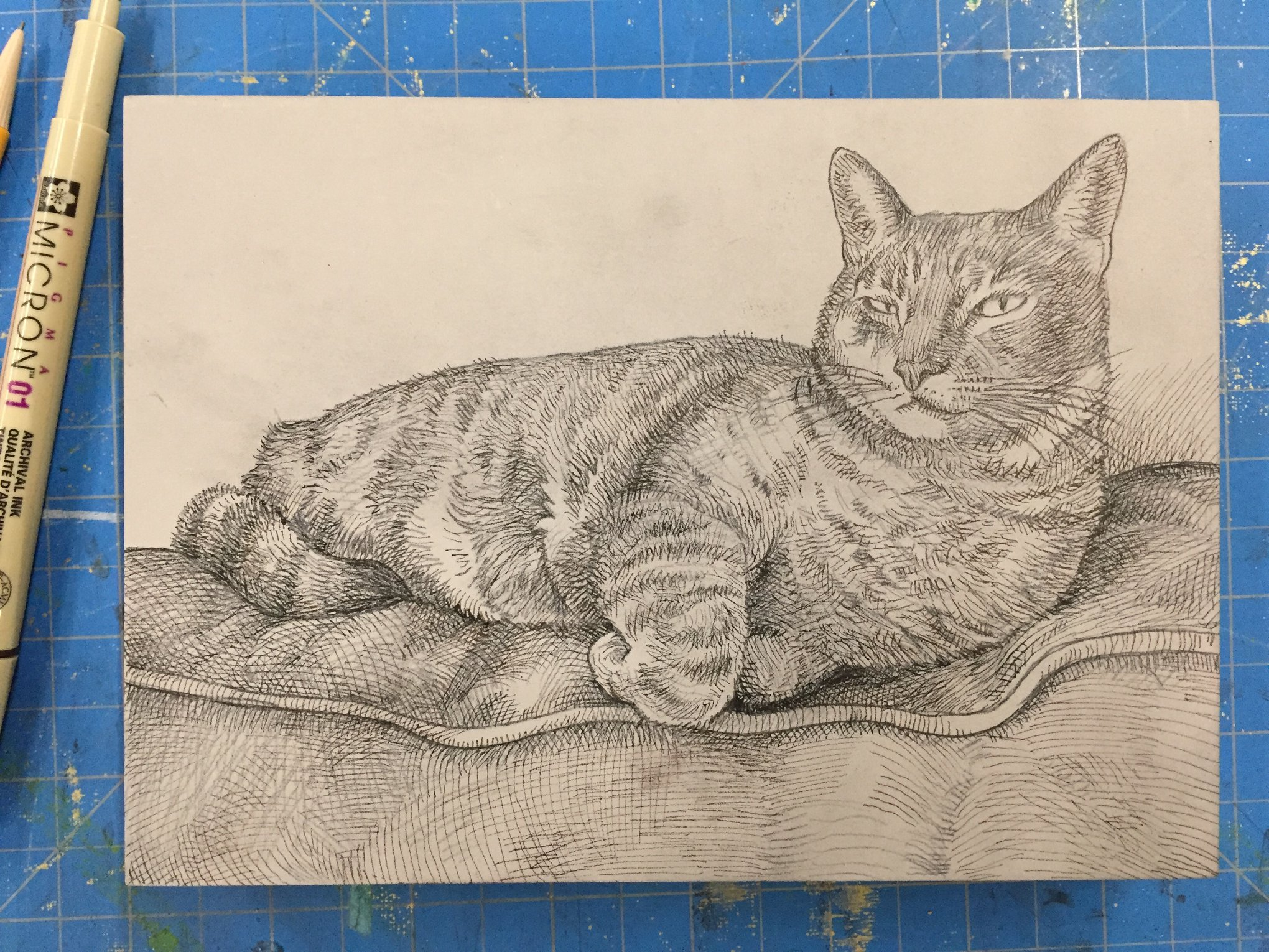 """Here is the drawing of Sliver, sitting on the top of the leather sofa, on the 5""""x7"""" mounted linoleum block.  I used the copy machine to print the reference photo that I took of Sliver. It was output at the size of the block I am using. I traced the photo with carbon paper to transfer the basic shapes and proportions onto the block. I refined the tracing by drawing with pencil. Then I drew over the pencil drawing with a fine permanent marker. I used a Pigma Micron 01 pen. It is important to use a pen that will not wash away or smear when you clean the block. After I carve and am ready to print, I will have to clean the block and this will remove the pencil so the graphite does not transfer into the ink."""