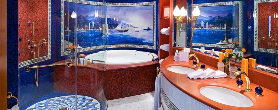The Hotel in the Panoramic Suite at the Burj al Arab (with Hermes bath products!)