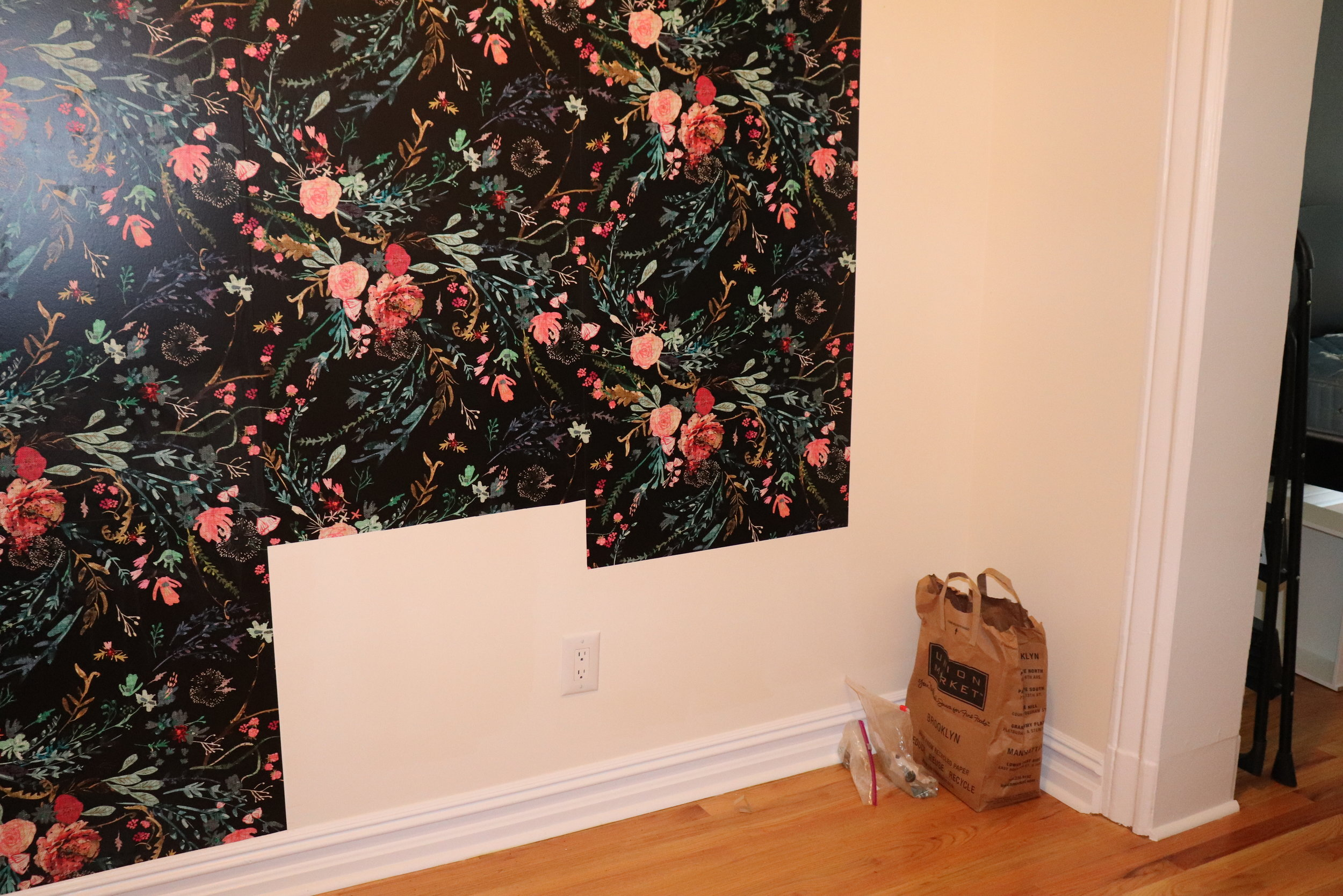 I didn't wallpaper behind my dresser,but it worked and I saved $100!