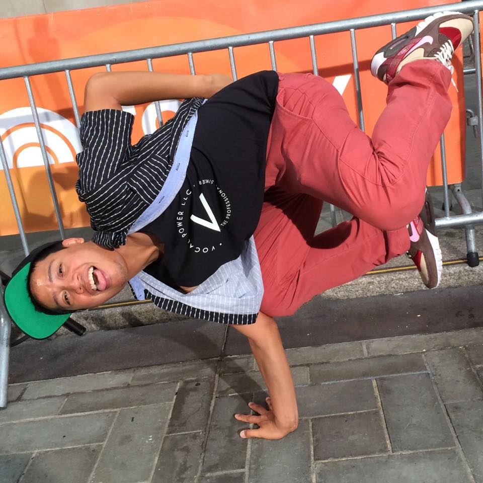 BBoy and VP student,Michael Capito aka Suitkace, on the Today Show with 252 others and  @pmthouseofdance setting a record for the largest street dance performance.