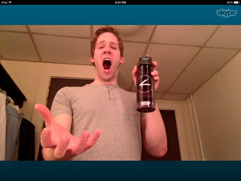The very talented Andy Huntington Jones, aka Prince Topher on the national tour of Cinderella, having a skype lesson.