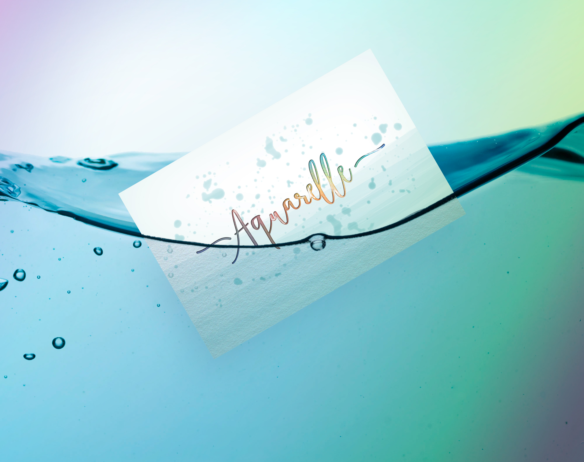 - Aquarelle ZeleThe client wanted us to create a logo for their swimmingpool concept. We tried to capture the touch of water in the type of the logo. It had to give the impression  of moving and reflective water. This effect was achieved by using holographic hotfoil, combined with waterline paint.