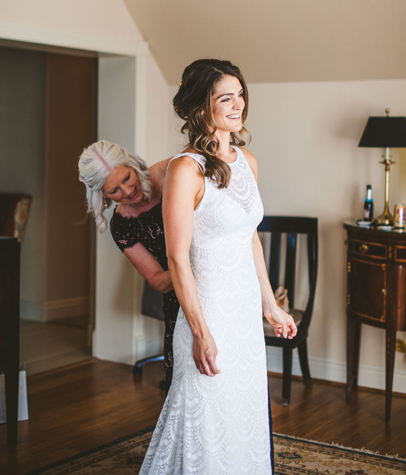 Bride Kelsey with her mother. The Webb-Miller Wedding, page 52 of bridebook 2019. Image by Tara Lilly Design & Photography.