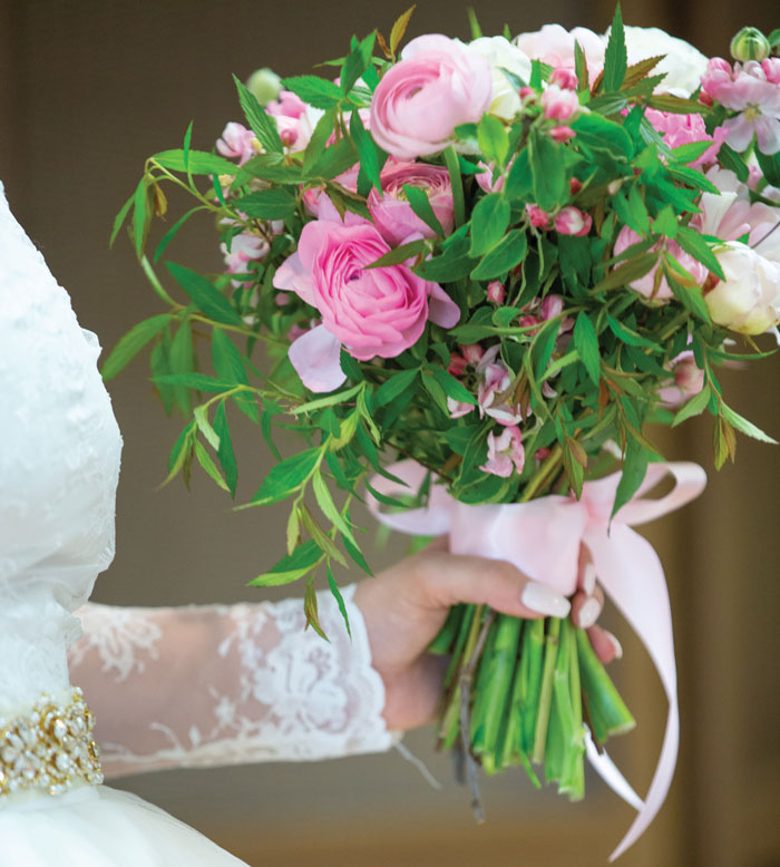 These hydrangeas matched Morgan's pretty in pink color palette. Brown-Thomas Wedding, page 30 of bridebook 2019. Image by Patrick Perkins Photography.