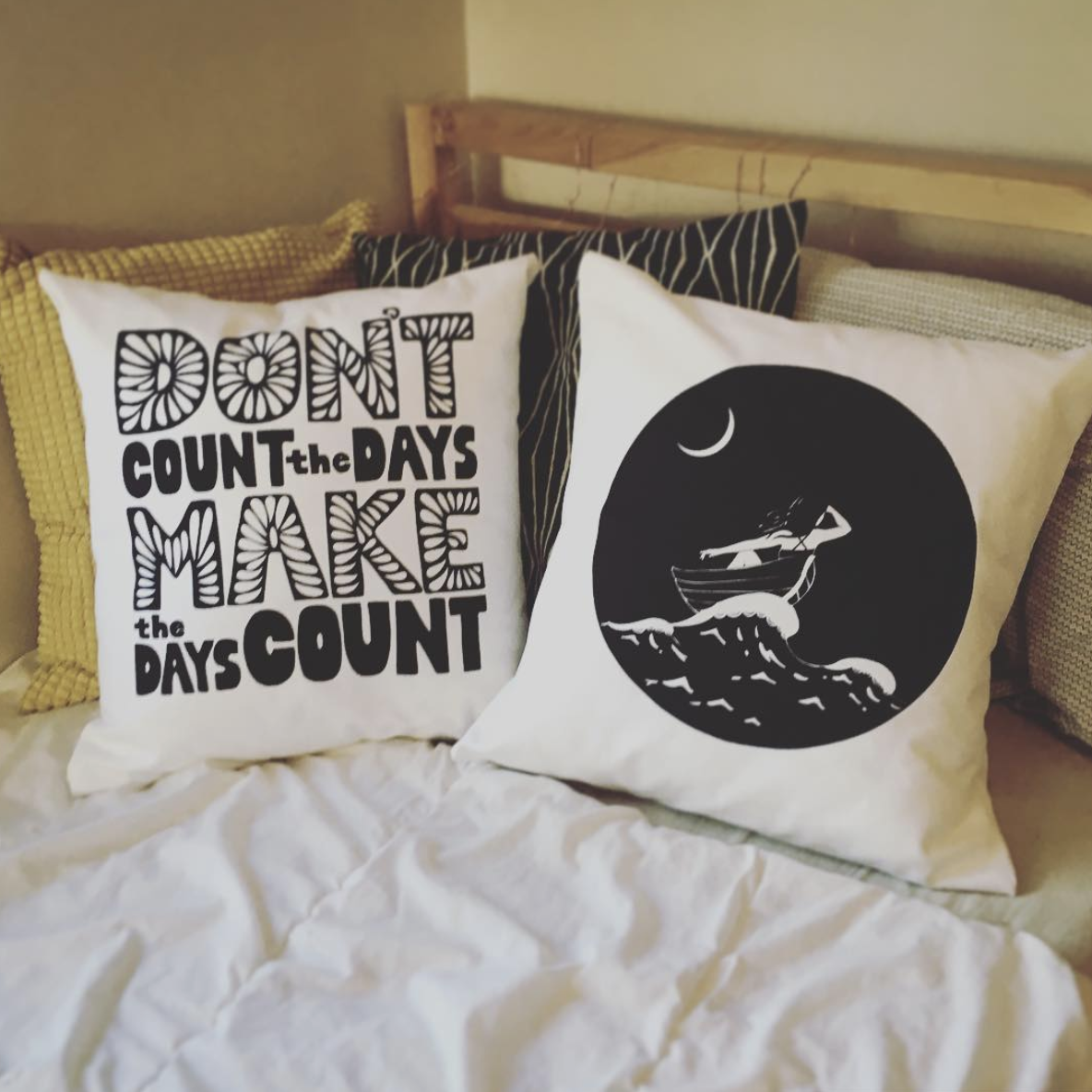 You can find a whole range of illustrated gifties–including beautiful hand lettered pillows!–over at  Inkerbelll's online shop .
