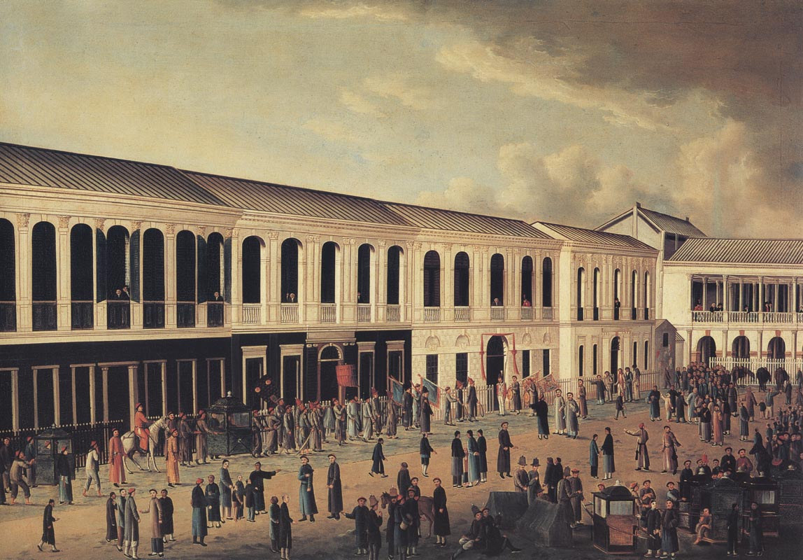 View of the front of the hongs at Canton, after 1807