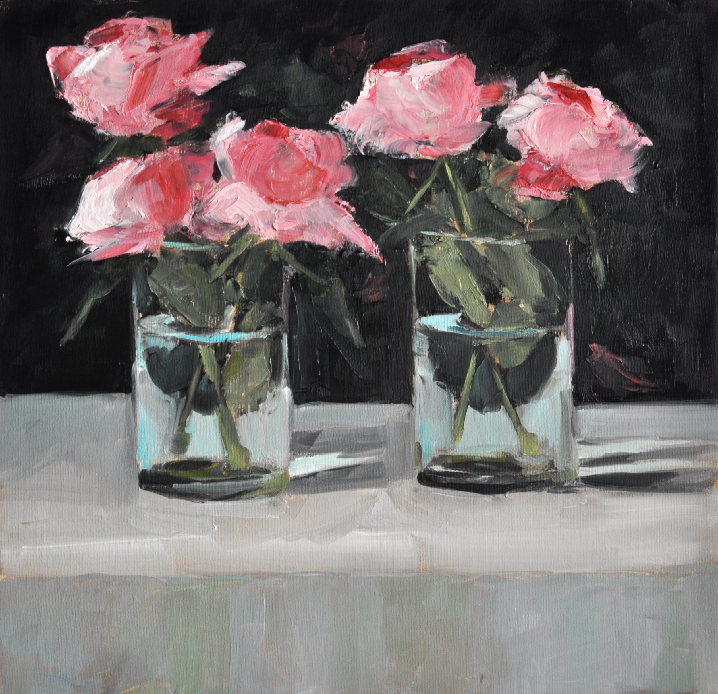 Five Pinks, Oil on Linen, 12 x 12, available