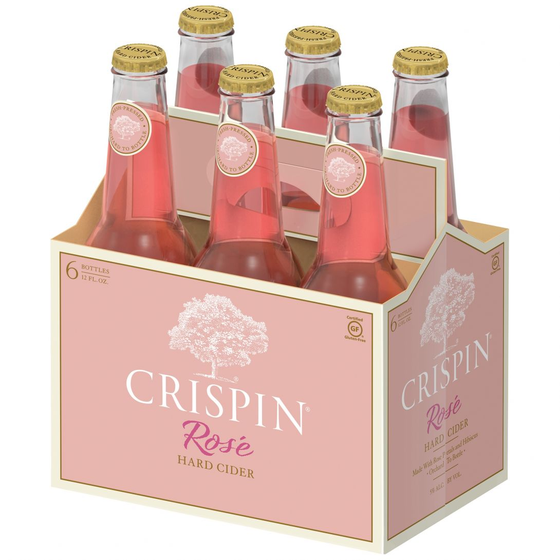 Crispin Rosé Hard Cider     What it's made with: A blend of apples, pears, rose petals, and hibiscus.   What it tastes like: Sweet melon, strawberries, rhubarb, with a floral hint of roses.   What to sip it with: Charcuterie spreads, shellfish, and salads.