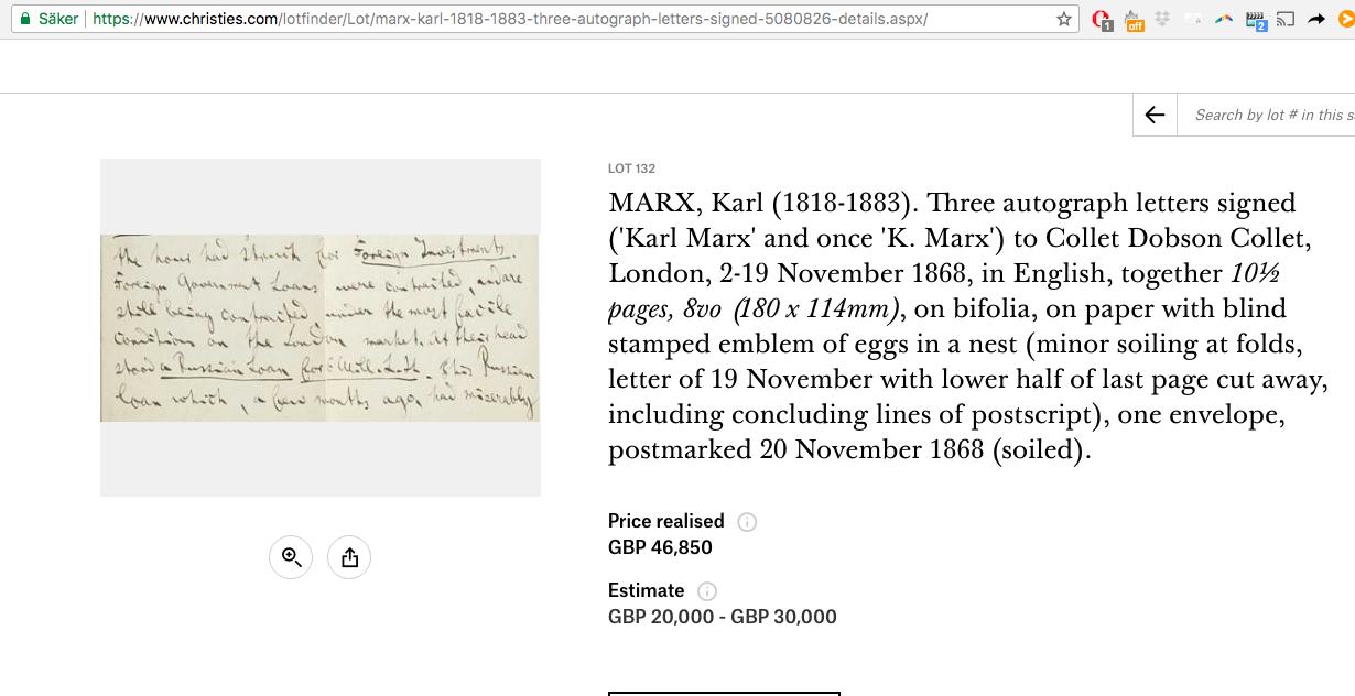 Om du har pengar över och ett öga för antisemitiska texter av Marx är den här pärlan för dig!