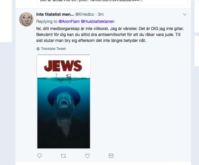 KHedbo vänster antisemit as fuck tweeten raderad.png