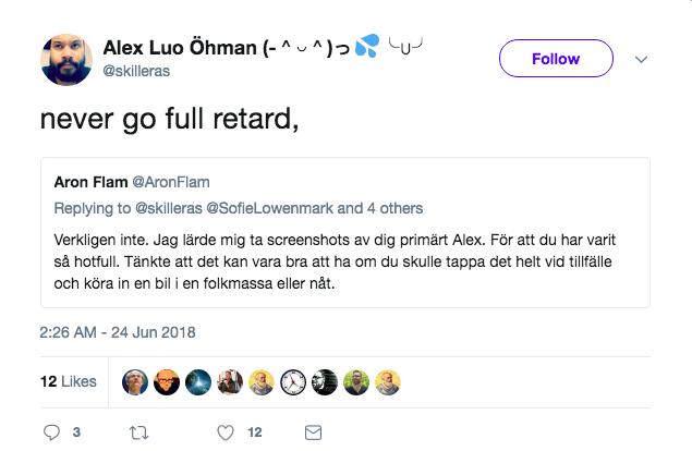 Sungura är en av de som like:ar Alex tweets. Ytterligare ett exempel på hur han försöker skapa nya trådar för att leda bort samtalet från kärnfrågan.