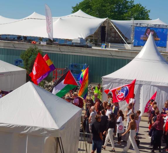 Den enda nationella flagga som är med vänstern i Almedalen, förutom den svenska, socialistiska fanor och Pride-rörelsens regnbågsfärger, är den Palestinska. Detta trots att Palestina inte direkt är känt för hbtq-vänlig politik. Foto: Peter Tauson
