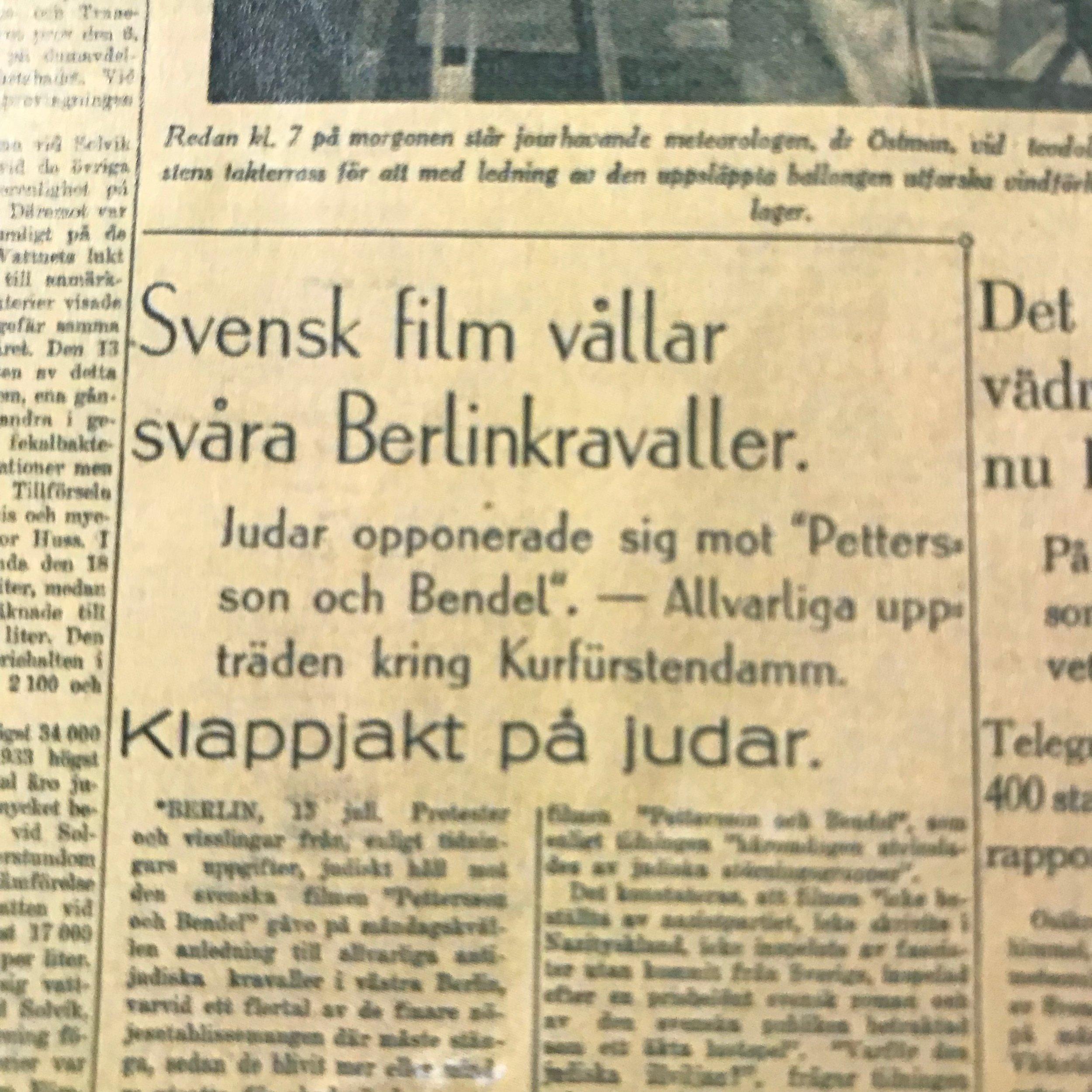 """Svenska Dagbladet proklamerar  """"Klappjakt på judar"""""""