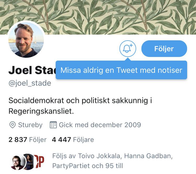 Så här ser Joel Stades personbeskrivning ut på Twitter. Han twittrar väldigt mycket i tjänsten.