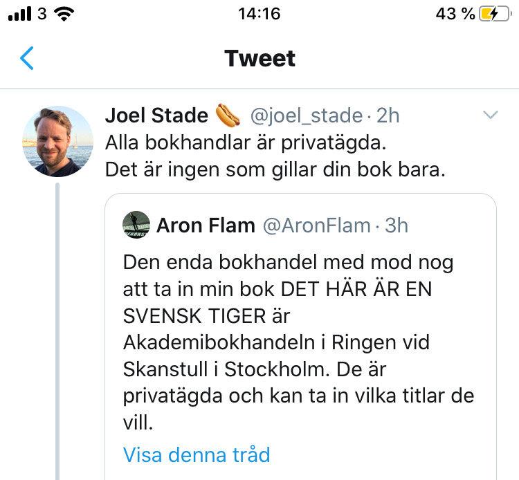 Joel Stades delning med tillhörande kommentar .