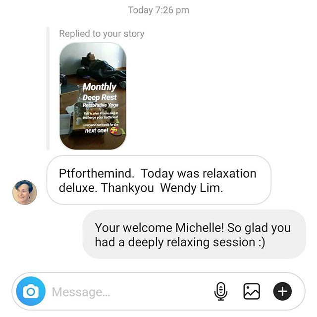 """😍 Always blown away by the feedback I get after every Deep Rest Restorative Yoga Session! . . I had two newbies to restorative today, one has booked a spot for the next month's restorative session straight away already! And my other newbie shared this lovely message with me just now! 🥰 . . ''Today was relaxation deluxe. Thank you, Wendy Lim"""" - Michelle . . I've only got one spot left for next month's session! You can now order a ticket online via Eventbrite. Visit bio or website to grab a spot pronto 😊 . . www.ptforthemind.com . . . #restorativeyogateacher #restorativeyoga  #yoga #deeprest  #feedback #deluxerelaxation #relaxation"""
