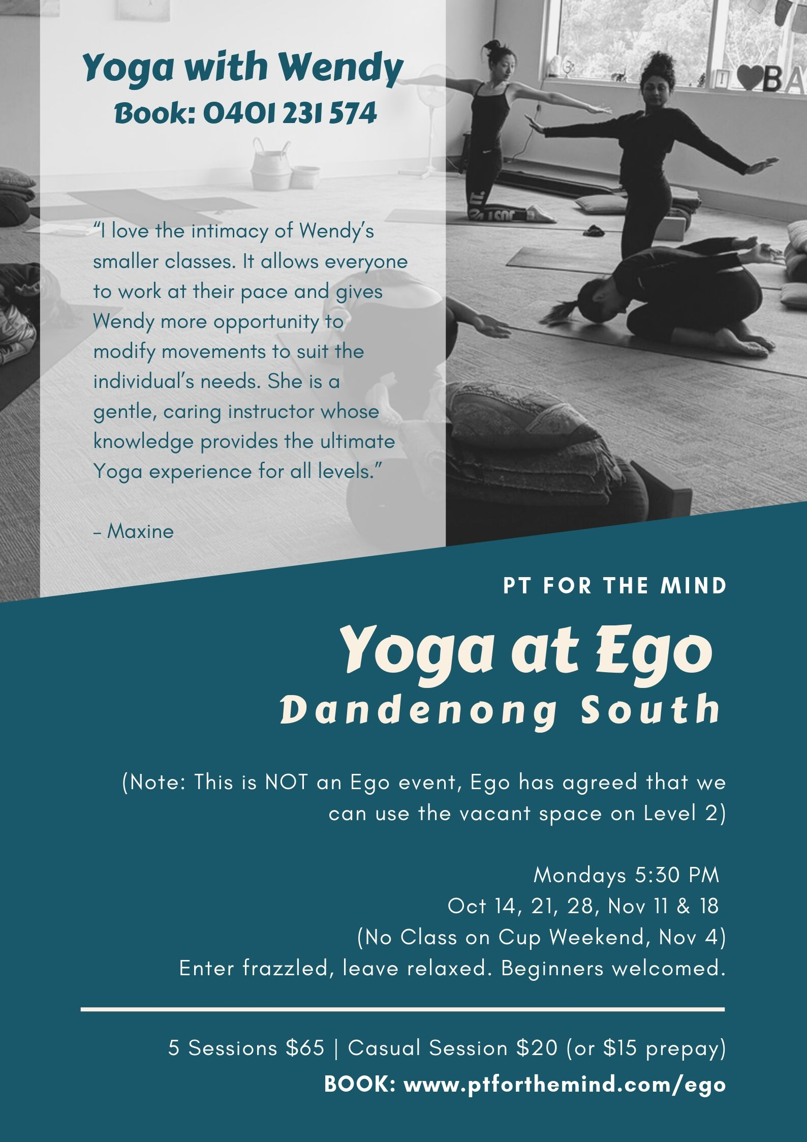 Yoga at Ego* - Mondays 5:30 - 6:30 pmNext 5 Session Block Starts: October 14*Note: This is NOT an Ego event, Ego has agreed that we can use the vacant space on Level 2. Only open to Ego Employees.