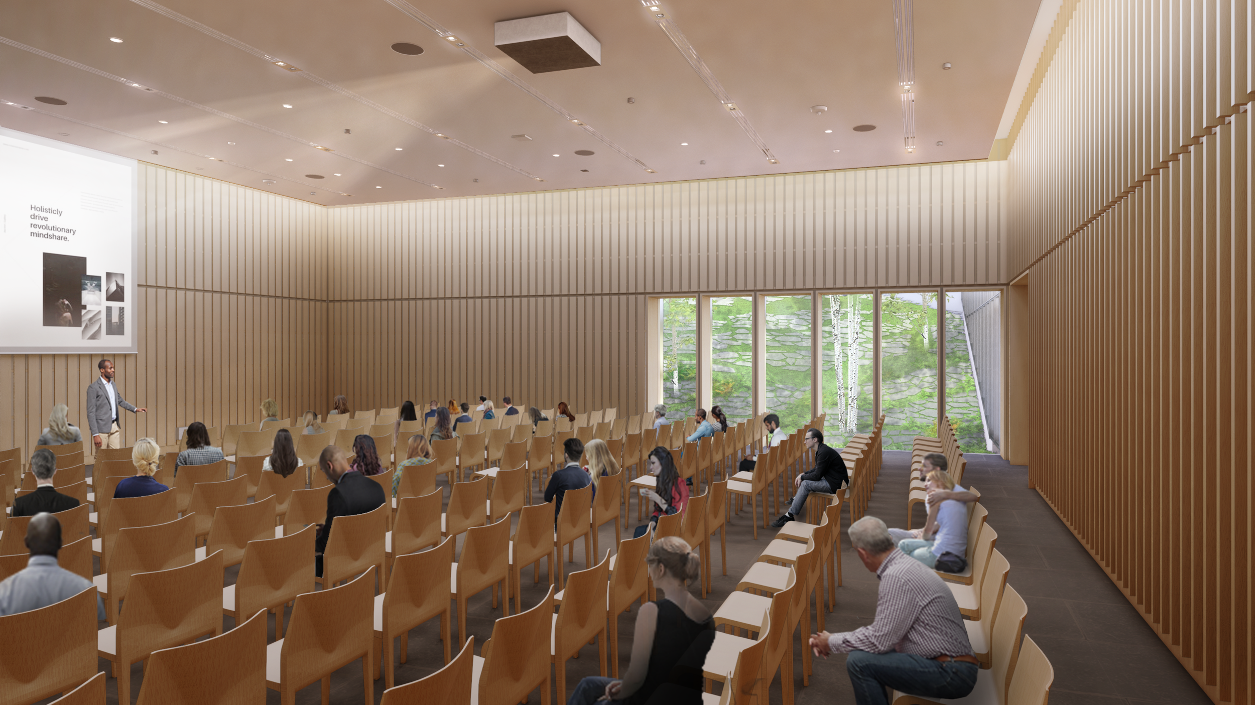 Lecture Hall with view of interior courtyard
