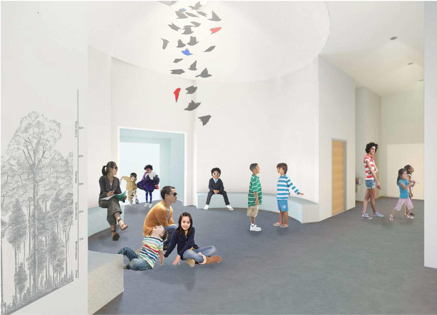 A view of the school-group orientation space in the New Bruce. Currently the Museum's main entrance  and lobby, this area will serve as the entry to the greatly expanded Education Wing.