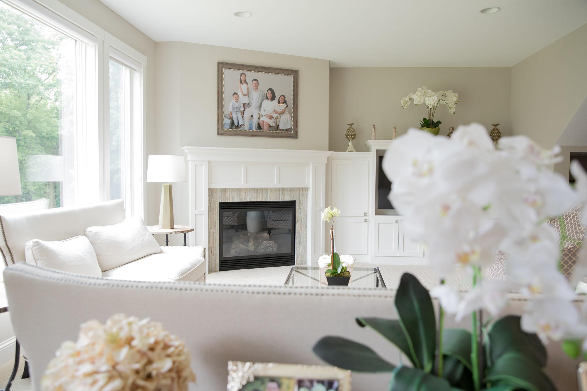 Living room custom framing
