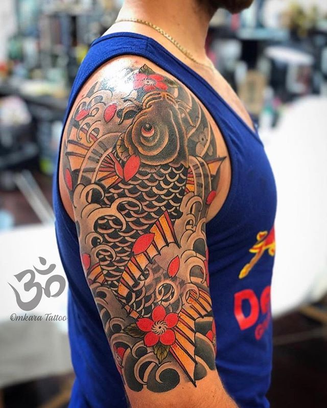 Koi half sleeve with blossoms by @conradism | for bookings email conrad.tombler@gmail.com