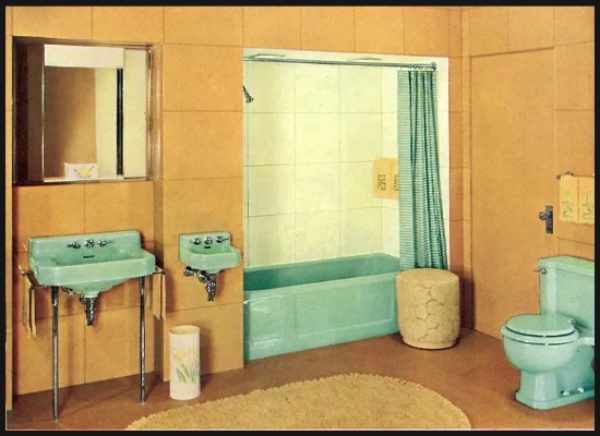 Jazz Era bathroom and the new alcove tub / shower combo. What's up with the second sink?