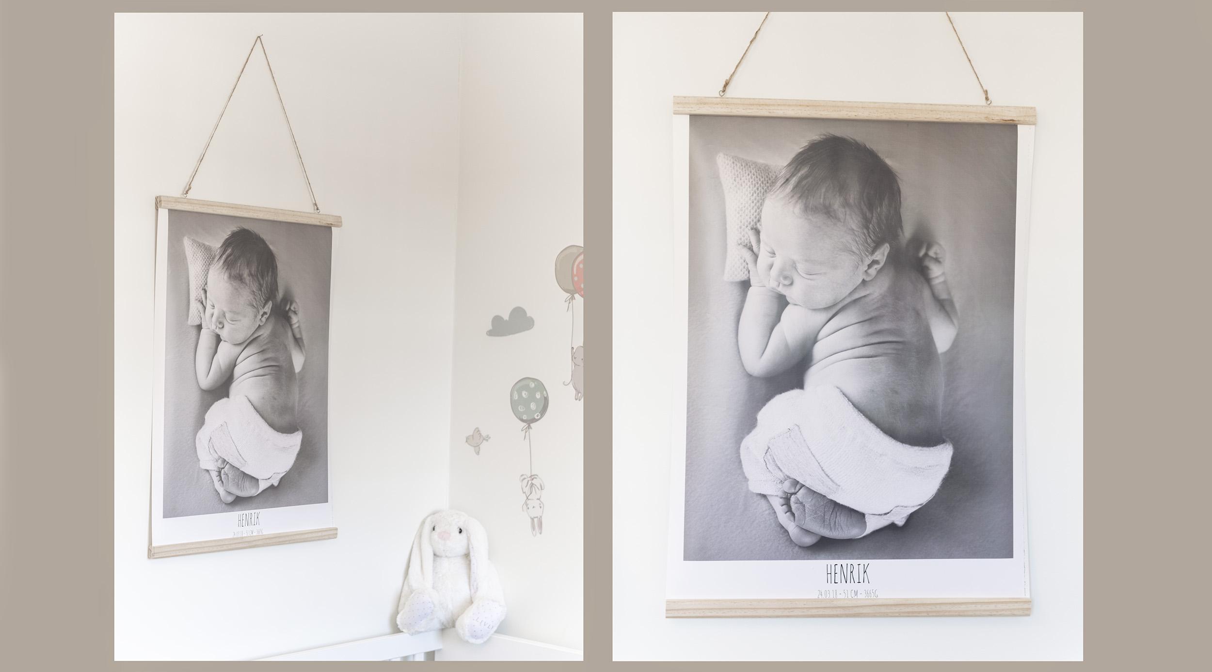 POSTER MED OPPHENG - Lag fødselsplakat i 50x70 centimeter med barnets fødselsinfo.