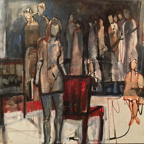 "The Gathering -Still Waiting (Judgment Day) - Andrew Kent-Marvick, juror, 10th Annual ISAP Open International Online Exhibition, May 2019, provided the following comments about Elaine Weiner-Reed's painting The Gathering - Still Waiting (Judgment Day), awarding it FIRST PLACE:Round 1 Jurying: ""…a strong, personal example of neo-expressionism, developed organically out of a gestural technique and suggestive of a larger narrative and theme without, however, providing explanation. The minimal color gives added dramatic impact to the small shocks of red and blue. This is a good figurative painting.""Round 2 and Award Round Jurying: ""This study of figures in an interior space drips (literally and figuratively) with intrigue, color, light and human energy. A throwback to the gestural school of figure-drawing that first arose in the middle of the 20th century, this composition uses deceptively easy, flowing rhythms to suggest an unexplained mystery of implied narrative."""